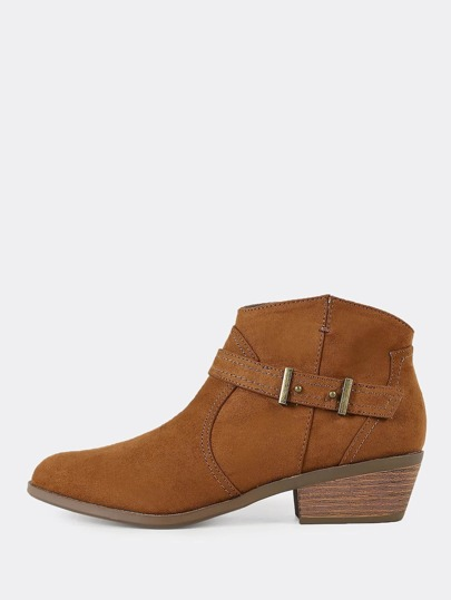 Faux Suede Zip Up Low Heel Cowgirl Booties MAPLE