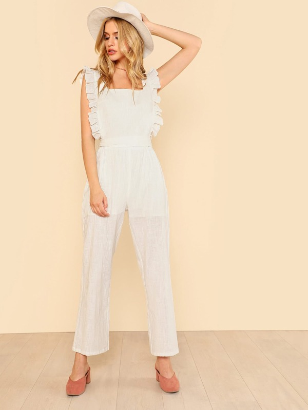 1d294ad1d4 Ruffle Strap Belted Pinafore Jumpsuit
