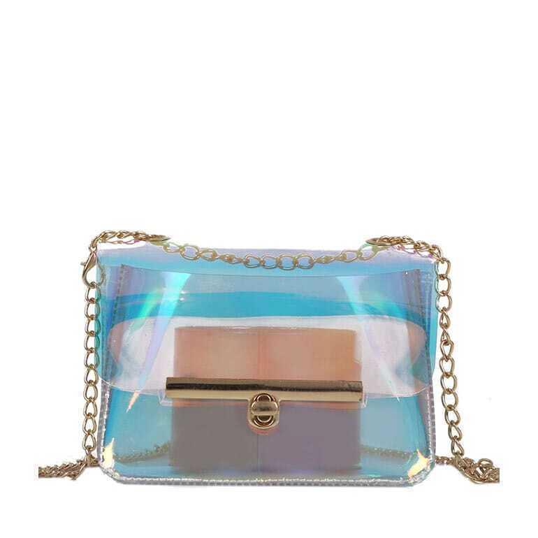 - Lock Detail Transparent Crossbody Bag