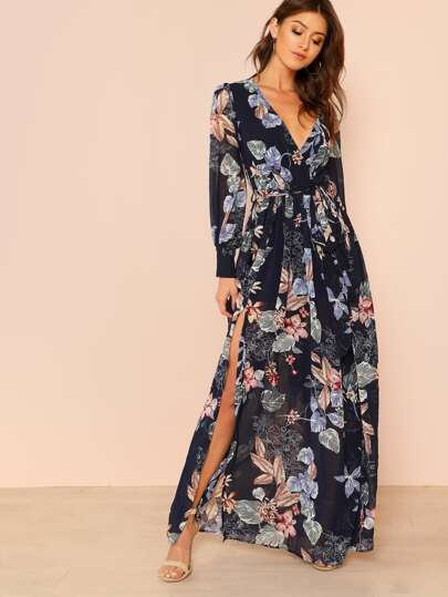 Floral Print Long Sleeve Wrap Dress with Slit Front NAVY