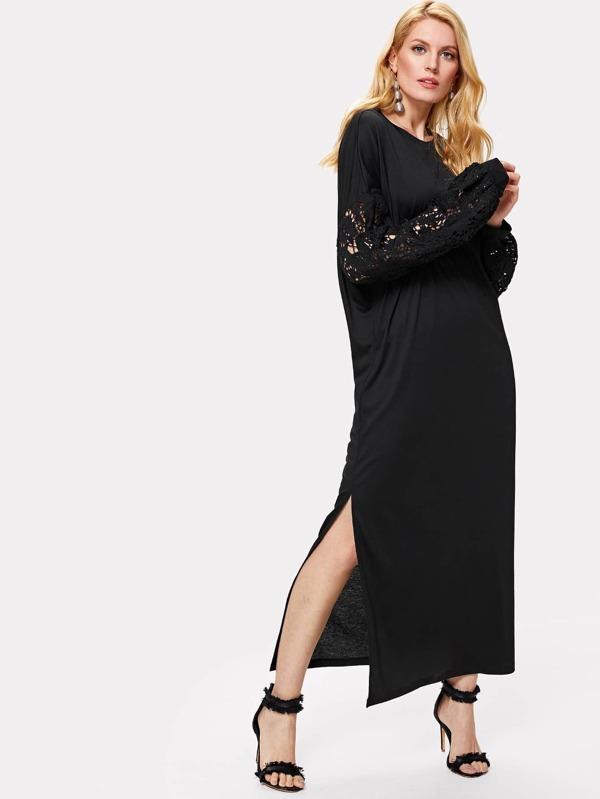 b789eae53 فستان مع الأكمام مزينة بالزهور الدانتيل | شي إن