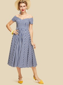Off Shoulder Fit & Flare Gingham Dress