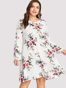 cutout neck solid dress