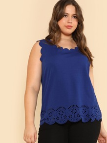 Plus Laser Cut Scalloped Trim Shell Top