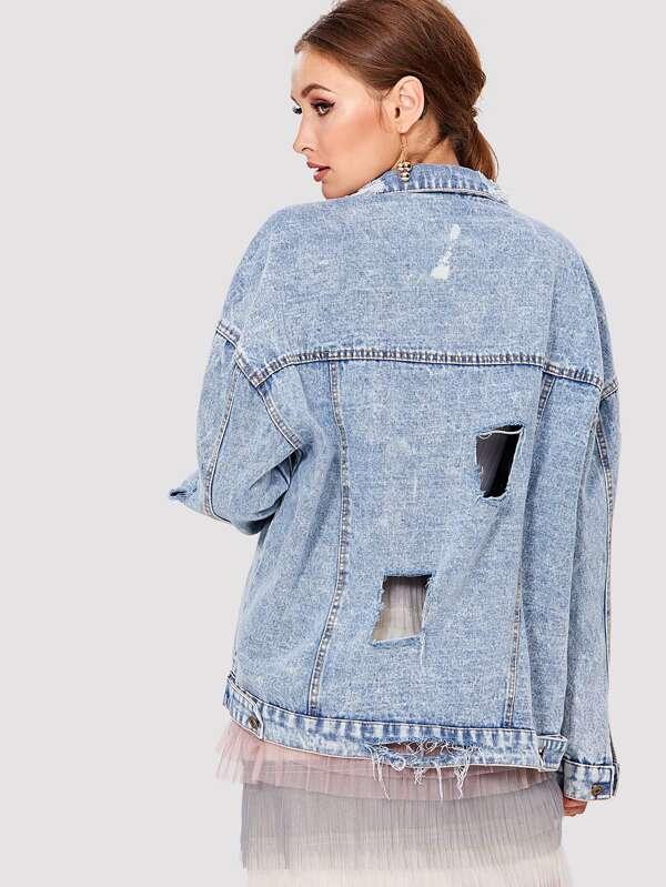 fa4aa7fcb7 Cheap Bleach Wash Drop Shoulder Ripped Denim Jacket for sale Australia |  SHEIN