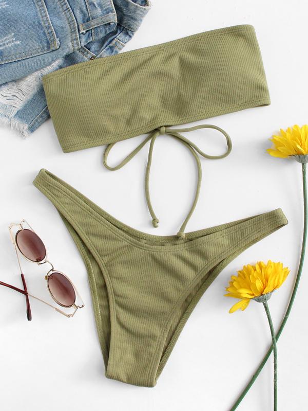 05805fba42 Lace Up Bandeau Top With Ribbed Bikini Set