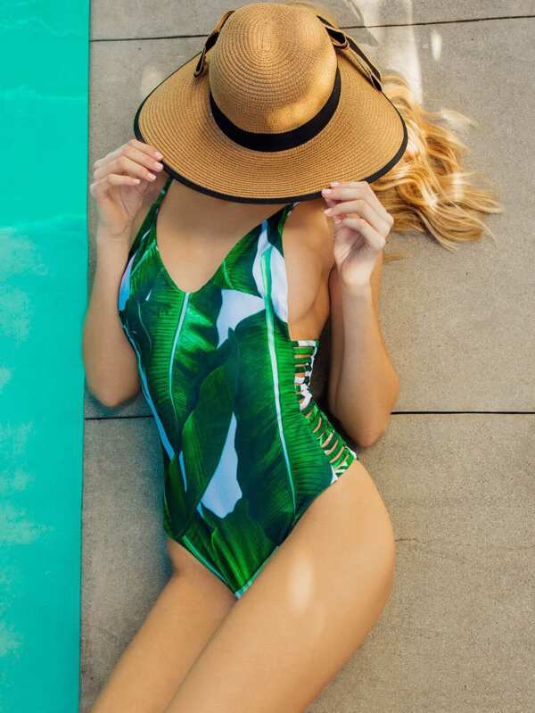 359f81db34 Green Leaf Print Ladder Cutout One-Piece Swimwear | SHEIN
