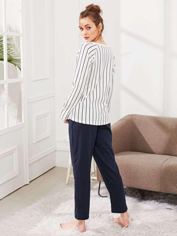 31622644d4 Conjunto de pijama de rayas con letras impresas -Spanish SheIn(Sheinside)