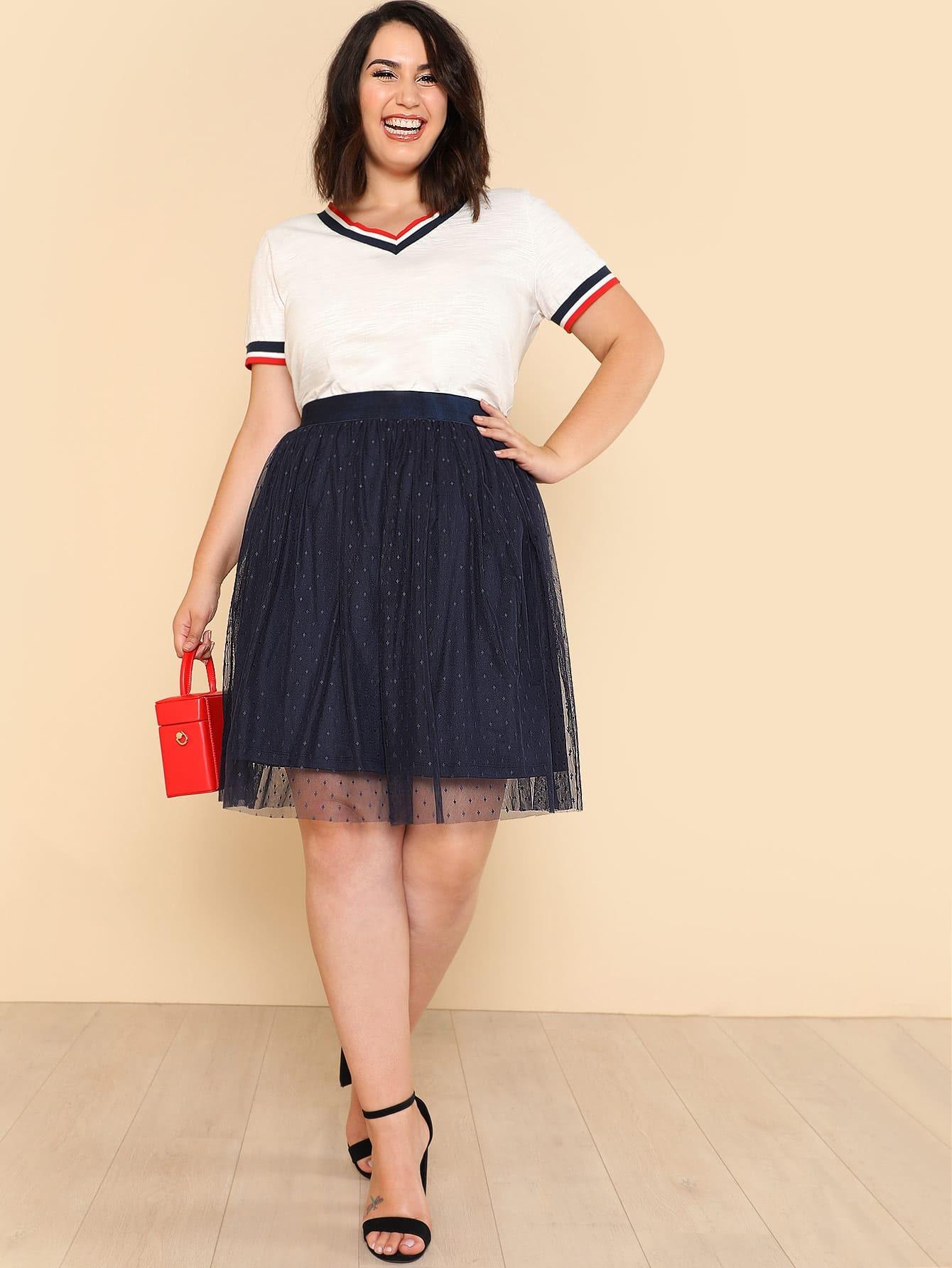 grande taille jupe taille lastique en tulle shein france
