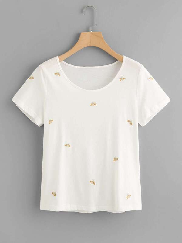0538ecea3 Bee Embroidered T-shirt | SHEIN UK
