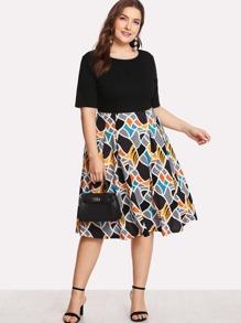 abstract print combo dress