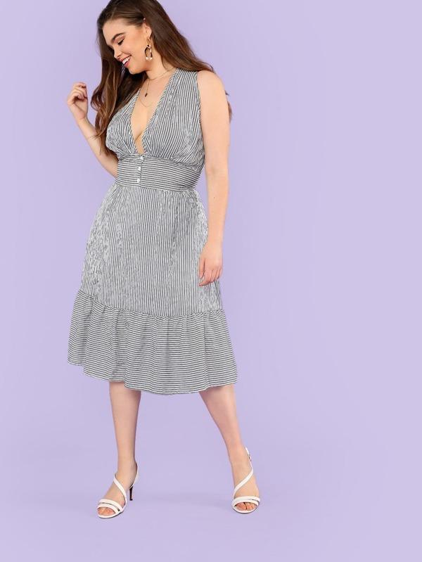 01a94f548 فستان السهر الخط الزر الأبيض واللأسود فساتين كبيرة الحجم | شي إن