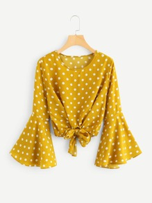 Fluted Sleeve Polka Dot Knot Front Top