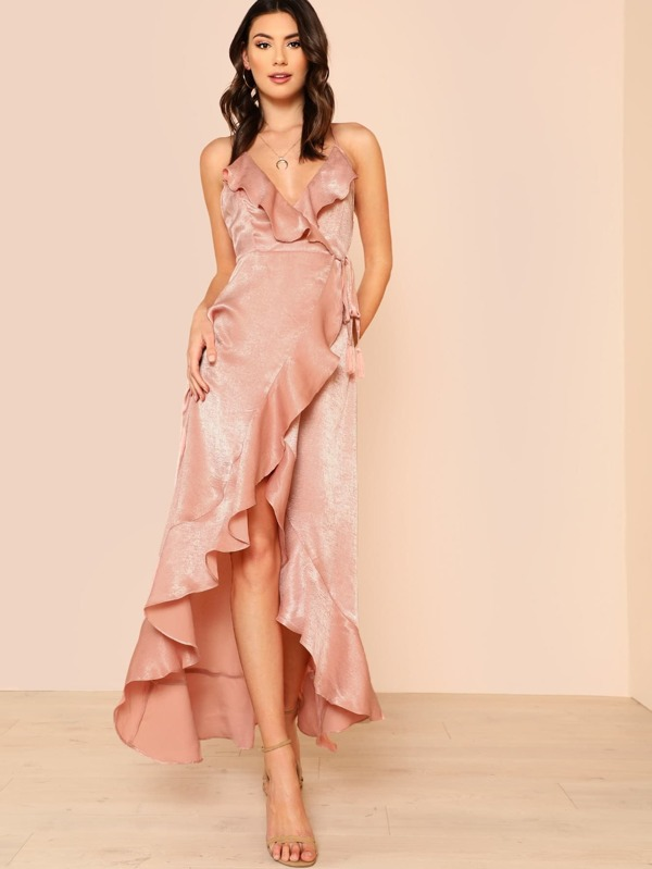 63341bcbd7 Cheap Satin Ruffle Front Maxi Dress ROSE for sale Australia