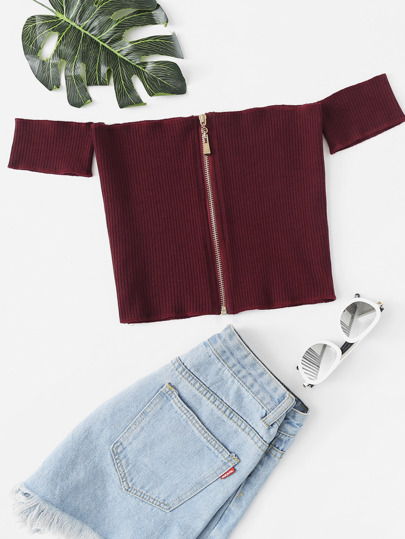 Off Shoulder Zip Up Ribbed Crop Tee