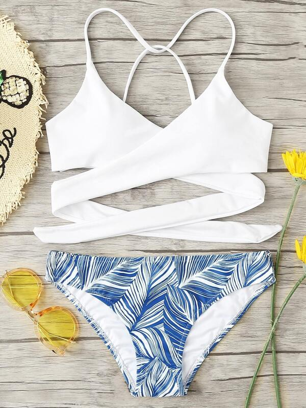 308a92d330775 Criss Cross Wrap Top With Leaf Print Bikini Set. AddThis Sharing Buttons