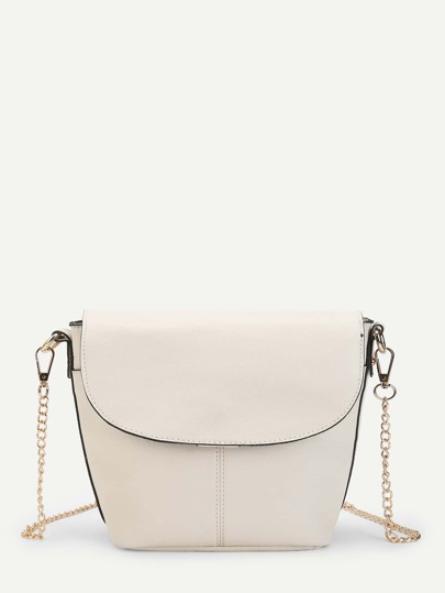 PU Flap Shoulder Bag With Chain Strap