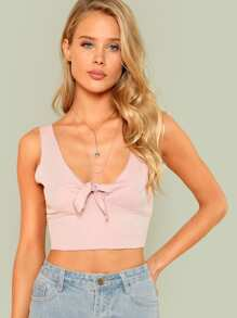 Knot Front Crop Tank Top