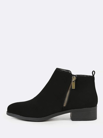 Double Side Zipper Nubuck Round Toe Bootie BLACK