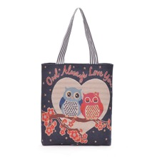 Cartoon Design Totes Bag With Striped Strap