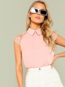 Eyelash Lace Raglan Sleeve Top
