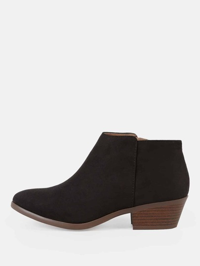 Faux Suede Zip Up Round Toe Bootie BLACK