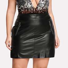 - Plus Zip Detail Faux Leather Skirt