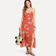 M-Slit Front Button Detail Cami Dress dress180319459
