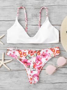 Braided Straps Top With Floral Pattern Bikini Set