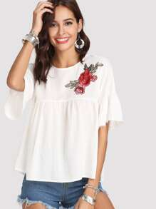 Lace Trim Embroidered Smock Top