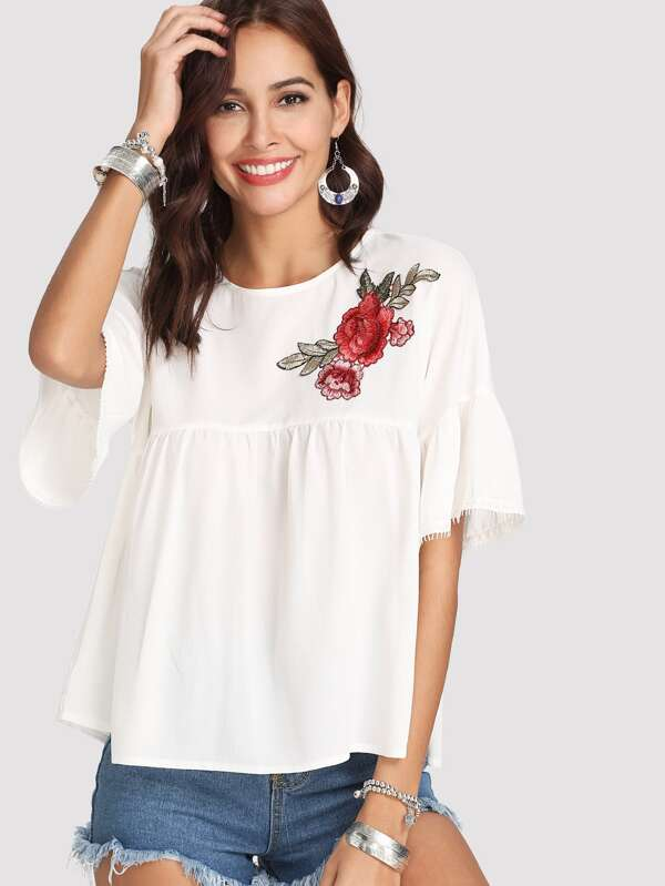 c537a10f873321 Lace Trim Embroidered Smock Top | SHEIN