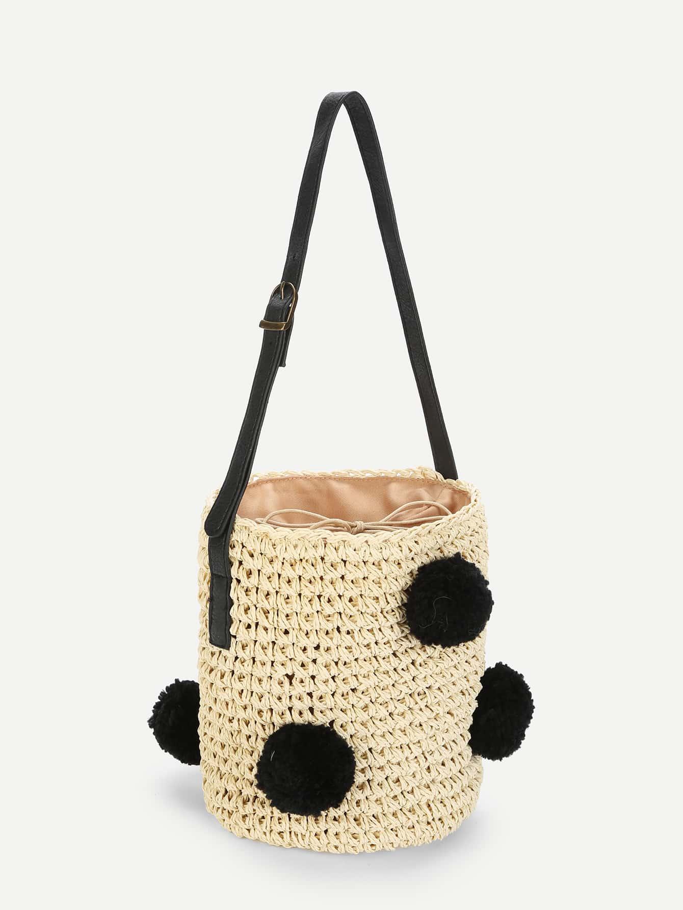 sac de seau de paille avec pompon romwe. Black Bedroom Furniture Sets. Home Design Ideas