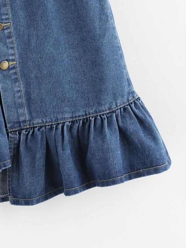 b4c9f4f667 Fishtail Button Front Denim Skirt   SHEIN UK