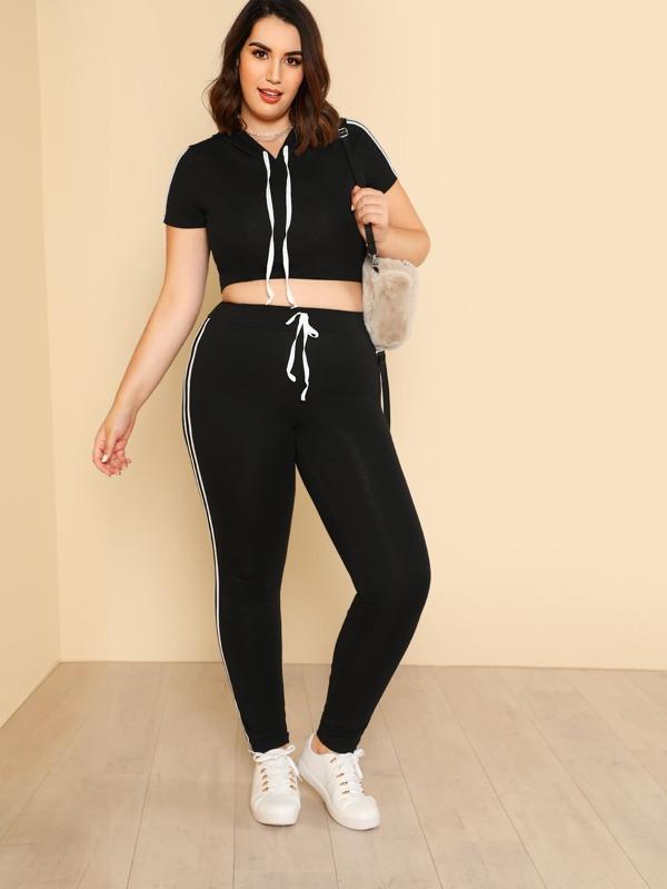 3ae80b42a1c003 Plus Striped Side Crop Hoodie With Sweatpants Set