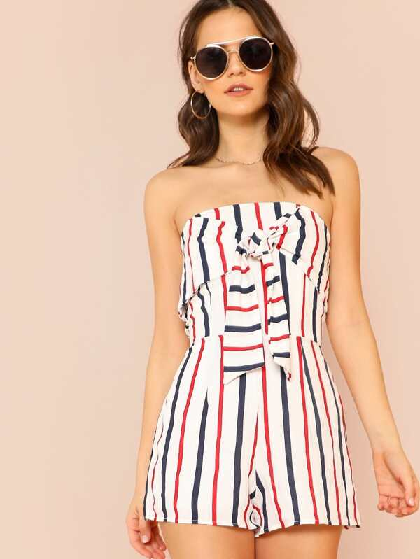 b45a78ec229b Striped Strapless Romper with Front Tie Ribbon Detail WHITE  -SheIn(Sheinside)