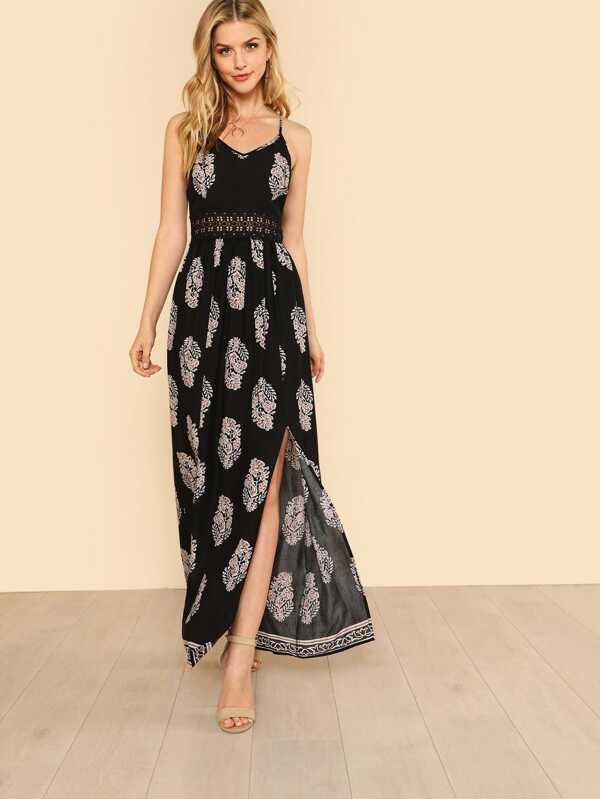e3fd7585d6 Lace Waist Split Front Cami Dress