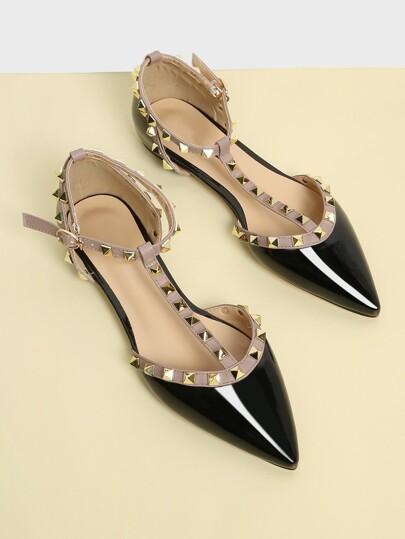 T-strap Studded Ballet Flats b3066d0fe1a7