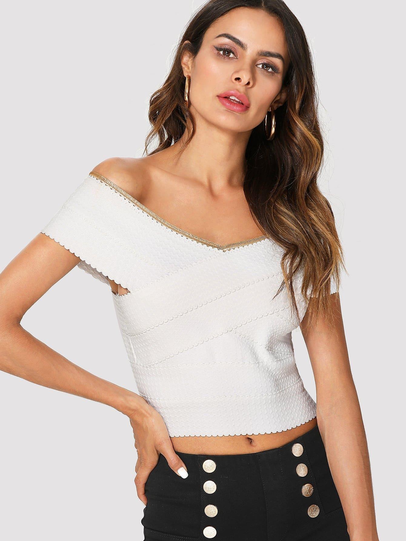 74c4dfe2ee7a7 Off Shoulder Zip Back Crop Top EmmaCloth-Women Fast Fashion Online