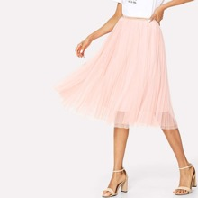 SHEIN | Box Pleated Mesh Skirt | Goxip