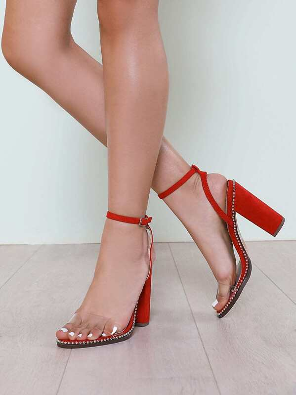 1e60801c1a2 Bead Trim Clear Band Faux Suede Chunky Heel RED