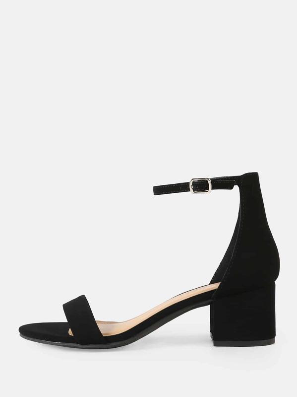 e832f186d9 Nubuck Ankle Strap Low Heel Sandals | SHEIN