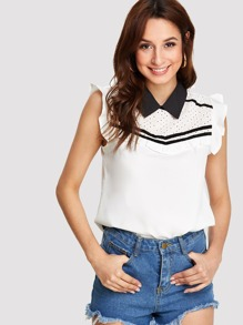 Contrast Collar Eyelet Embroidered Yoke Top