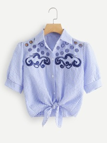 Cut Out Embroidered Striped Shirt
