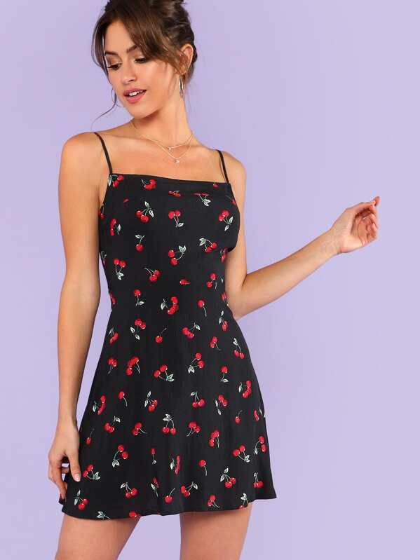 165057202568ff Allover Cherry Print Cami Dress | SHEIN UK