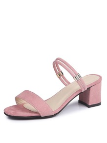 Double Strap Block Heeled Sandals