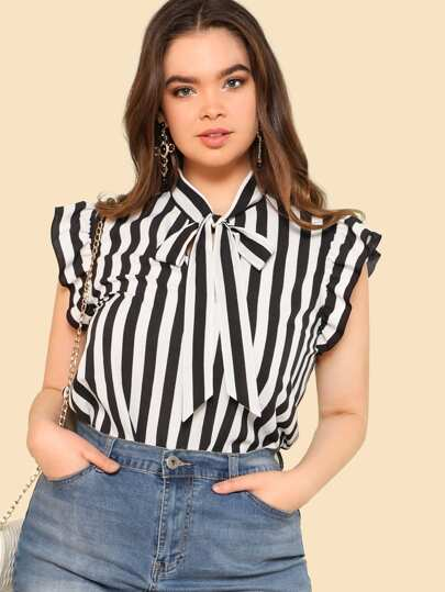 b02cd9b78a Plus Tie Neck Striped Ruffle Blouse