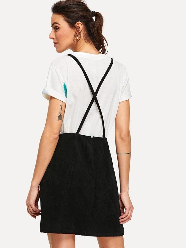 a3ffad74e8d Bib Pocket Cross Back Corduroy Overall Dress