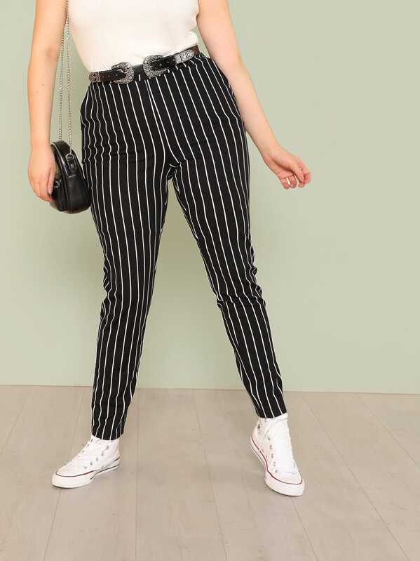 Shein Plus Striped Skinny Pants by Sheinside