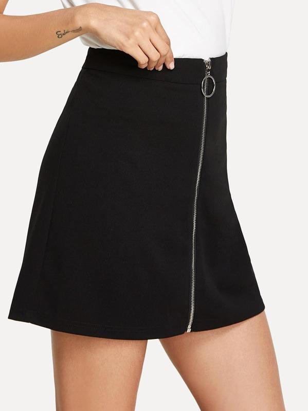 657c0c90eb O-Ring Zipper Up Front Skirt | SHEIN