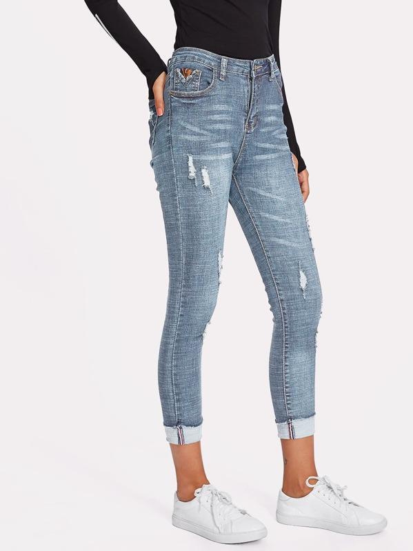 a962f7f7eb Rolled Hem Ripped Skinny Jeans